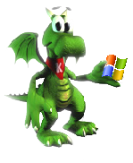 KDE Konqi with MS Windows logo